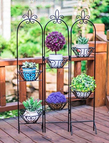 Im Freien Kraut Blumen Pflanze steht Kreatives Blumenpotentiometer Haus Bügeleisen Mehrgeschossiges Blumenregal Faltbares Metall Regal Hardware Einfache Dekorative Rack Im Freien Kraut Blumen Pflanze steht