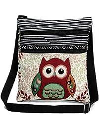 Flache Umhängetasche | Schultertasche | Stofftasche | Tragetasche | Messenger Bag (2 Innenfächer) für Damen im bestickten Ethno Style mit niedlichem Eulenmotiv