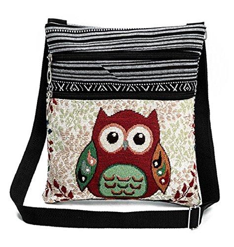 Flache Umhängetasche (Flache Umhängetasche | Schultertasche | Stofftasche | Tragetasche | Messenger Bag (2 Innenfächer) für Damen im bestickten Ethno Style mit niedlichem Eulenmotiv (Bunt (Rote Eule)))