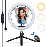 """Yoozon 10"""" LED Ring Light with Tripod Stand & Phone Holder, Dimmable Desktop Ring Light Kit with 3 Colors & 10 Brightness for Youtube Video, Makeup, Selfie, Photography, Live Streaming, Tiktok"""