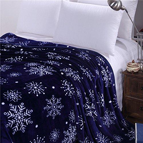 shinemoon Super Weich Warm 100% Polyester Fleece Wohnzimmer Schlafzimmer Überwurf Bett Sofa Snuggle Decke für Erwachsene Chilren Babys, 100 % Polyester, Deep Blue with Snowflake Pattern, 120x200cm