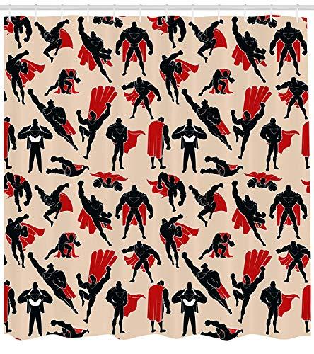 Soefipok Superheld Duschvorhang, Cartoon Super Mann in Cape Muskelmacht Held Action Fiction Geste Design, Stoff Badezimmer Dekor Set mit Haken, Pfirsich schwarz rot