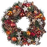 Idena Kerstkrans met 10 leds, warm wit, met 6 uur timerfunctie, werkt op batterijen, voor decoratie, Kerstmis, advent, als sfeerlicht
