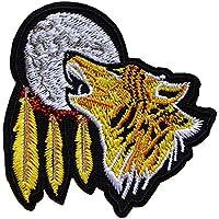 ecusson loup indien lune us usa moto biker plume thermocollant 8x8cm patche  badge 686a03c134b