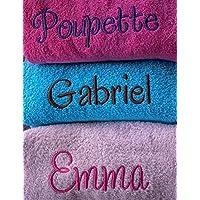 Linge éponge personnalisé, drap de bain brodé, serviette éponge prénom, cadeau personnalisé