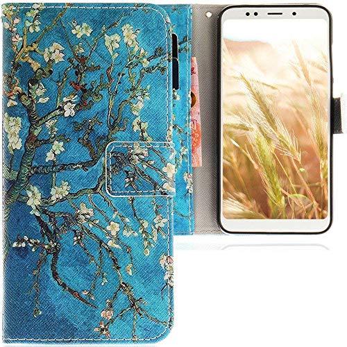CLM-Tech Funda para Xiaomi Redmi 5 Plus, Carcasa Cuero sintético, Flip Case con Soporte y Ranuras para Tarjetas, Árbol Rama Flores Azul