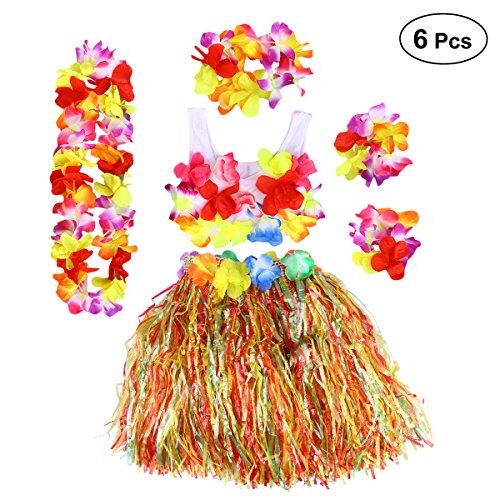 BESTOYARD 6Pcs Kinder Mädchen Hula Gras Rock mit Blumen Hawaiian Luau Kostüm - Gras Rock Kostüm