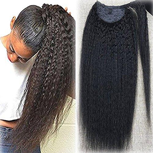 Full Shine 20 Zoll Ein Stück 100 Gramm Haarverlängerung Lange Kinky Straight Hair Solid Natürliche Farbe Remy Pferdeschwanz Menschliches Haar Für Frauen