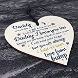 RED OCEAN Handmade Wooden Heart From Bump Gifts For Men Dad Daddy To Be Birthday Father Baby Son Daughter