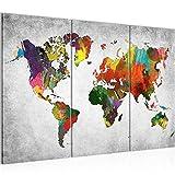 Bilder Weltkarte World Map Wandbild 120 x 80 cm Vlies - Leinwand Bild XXL Format Wandbilder Wohnzimmer Wohnung Deko Kunstdrucke Grau 3 Teilig -100% MADE IN GERMANY - Fertig zum Aufhängen 105131c