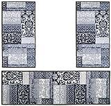 andiamo Flach/Kurzflor Classique Orient Muster Vintage Look Bettumrandung, Polyamid, 57x110x180, grau