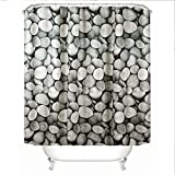Churun Shower Curtain Liner Extra Long Pebbles Digital Print Polyester Home Decor Toliet Bath Curtain with 12 Plastic Hooks