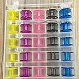 Reixus (TM) 25griglie plastica macchina per cucire box vuoto bobina caso scatola di plastica bobina con 25colori bobine 25 Color Bobbins