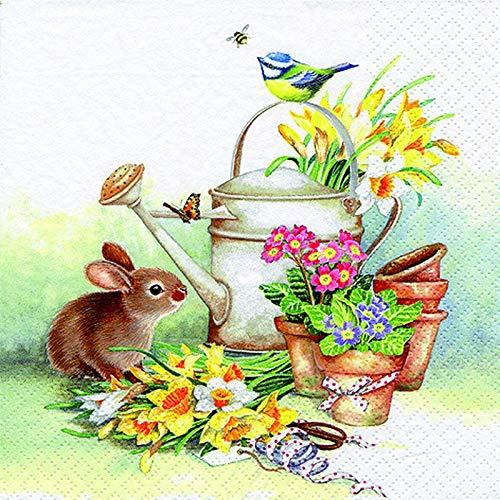 20 Servietten Osterhase Hase Blumen Frühling Tiere Ostern 33x33cm …
