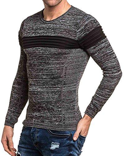 BLZ jeans - Pull homme gris chiné bandes relief noires Noir