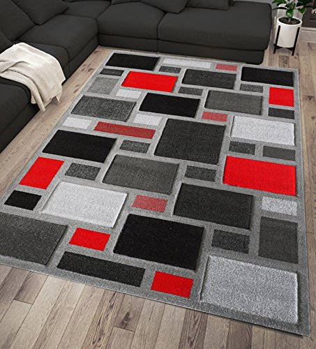 Modern Style Rugs Gris Argenté Rouge et Noir Géométrique Tapis de ...