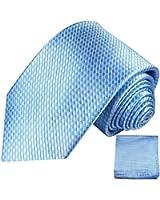 Krawatten Set 2tlg 100% Seide blau uni Seidenkrawatten mit Einstecktuch
