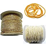 #2: Stone chain,pearl chain,golden ball chain combo for jewelry making, each 1 meter- pack of 3 items