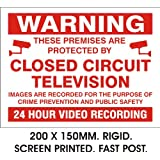 WARNING 24HR VIDEO RECORDING SIGN. RIGID PLASTIC. PRINTED. 150x200MM
