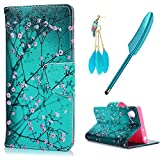 Xperia XA1 Case MAXFE.CO Sony Xperia XA1 Case PU Leather Shockproof Folio Flip Wallet Magnetic Stand Cover with Card Slots for Sony XA1 & One Touch Pen & One Dust Plug, Kapok Flower in Green Background