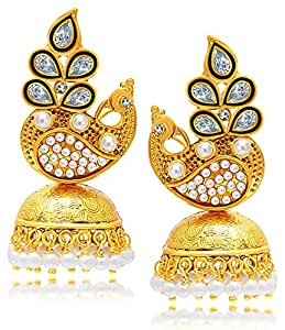 YouBella Jewellery Traditional Stylish Gold Plated Pearl Fancy Party Wear Jhumka / Jhumki Earrings for Girls and Women