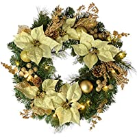 WeRChristmas Pre-Lit Decorated Christmas Decoration with 20 Warm LED Lights, 60 cm - Wreath, Cream/Gold