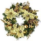 WeRChristmas - Corona de Navidad con iluminación (20 bombillas LED, 60 cm), color dorado y beige
