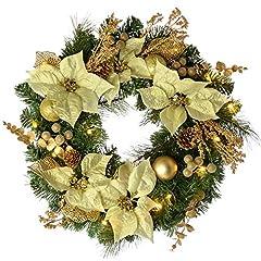 Idea Regalo - WeRChristmas - Ghirlanda natalizia decorativa, illuminata da 20 LED, luce bianca calda, colore: giallo oro, diametro: 60 cm
