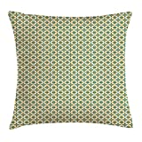 Geometric Throw Pillow Cushion Cover, Abstract Pattern Diamond Modules Combined to Form Circles and Lines, Decorative Square Accent Pillow Case, 18 X 18 Inches, Petrol Blue Orange Beige 45cm