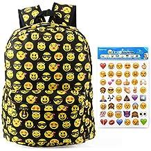 Toyfun QQ - Zaino in tela con stampa smile, zaino da viaggio, scuola, borsa a spalla, tracolla con 4 adesivi con Emoji, per bambini studenti ragazze/ragazzi, Black