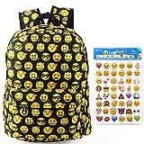 toyfun QQ cara sonriente Impresión Lienzo Mochila Mochila hombro bolso de escuela de viaje bolsa con 4pcs Emoji Pegatinas para niños estudiante