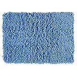 Chenille Shaggy Badvorleger Badteppich Badezimmer Teppich BLAU HELLBLAU 50 x 80 cm aus 100% Baumwolle Chenille handgetuftet