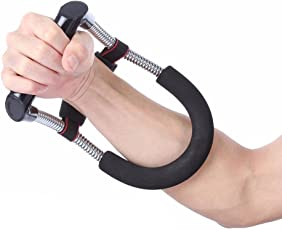 FITSY® Adjustable Forearm Strengthener Wrist Exerciser Equipment for Upper Arm Workout and Strength Training (Black)