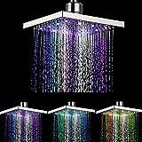 DELIPOP 7 Farbwechsel Duschkopf, viereckig Wasser Flow Powered 20cm ABS-Chrom Finish für Badezimmer