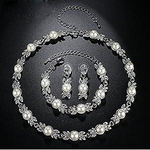 Set di 3 pezziParure di collier, orecchini e braccialetto, gioielli da sposa con strass e brillanti, per il matrimonio