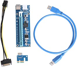 Rrimin PCI-E1X to 16X Extender Riser Card 6Pin DC-DC USB3.0 Cable for Mining
