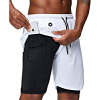 Matchstick 2 in 1 Mens palestra corsa fitness built-in pantaloncini tasca con foro auricolare #35