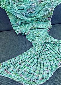Welle Meerjungfrau Decke häkeln Handbuch weich Waage Vier Jahreszeiten Schlafsack Decken Für Kinder oder Erwachsene(Grün)