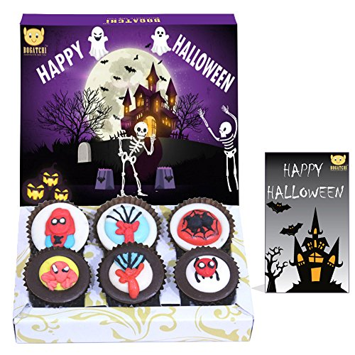 BOGATCHI Halloween Gifts, Premium Chocolate Candy Box with Spider Man Sugar Toys, 6 pieces, Absolutely FREE Halloween Greeting Card