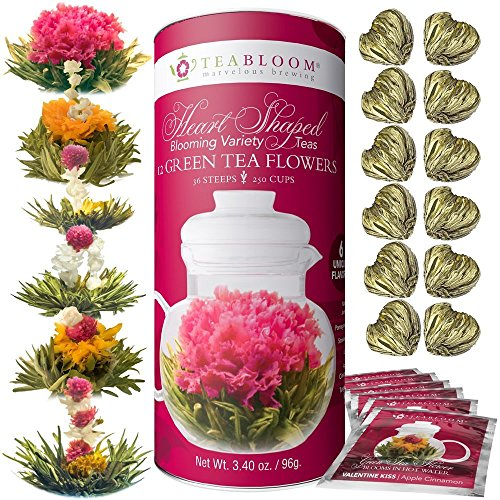 Teabloom Heart Shaped Flowering Tea - 12 Assorted Blooming Tea Flowers Gift Set - Green Tea + Jasmine, Pomegranate, Strawberry, Rose, Litchi & Peach - Unique Romantic Valentine Gift