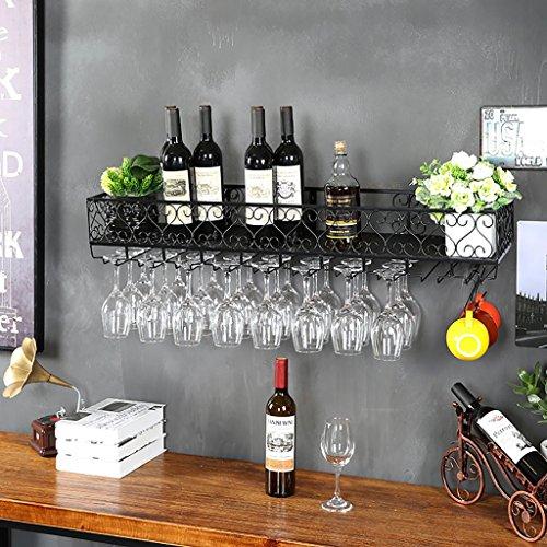 JXXDQ Multifunktions-Eisen Wand-montiert Weinregal-Wandregal Dekoration Regal Rostschutz für Bars,...