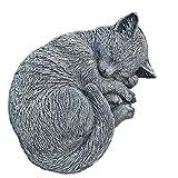 Steinfigur Katze Schlafend Mieze Tierfigur Gartenfiguren Skulptur Steinguss