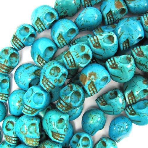 Schöne Perlen, 10 x 12 mm, Blau, Türkis, geschnitzt, mit Totenkopf-Perlen, 41 cm Strang, für Halskette/Armband, Schmuckherstellung