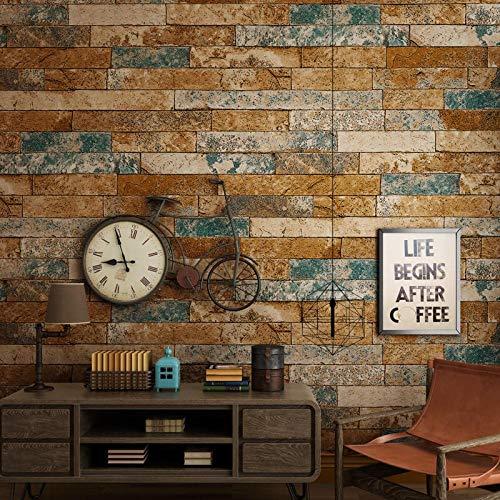 Vintage Chinese Nostalgic 3D Backstein Tapete Wohnkultur Schlafzimmer Wohnzimmer TV Hintergrund Restaurant Hotel Bar - Blau