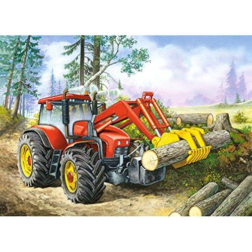 alles-meine.de GmbH Puzzle 60 Teile - Forest Site  - Traktor Farm Bauernhof - Auto Fahrzeug Waldarbeit Wald - Baum Baumstamm Bäume - Forst Forstarbeiter - Holzgreifer Holz Tech..