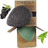 DESMAQUILLANTE • 2 esponjas Konjac para cara y cuerpo con carbón activo de bambú y té verde, ecológico, 100 % natural, para a