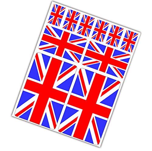 10 x Adesivi Vinile Stickers Regno Unito Bandiera United Kingdom Union Jack Per Auto Moto Finestrìno Porta Casco Scooter Bici Motociclo Racing Tuning