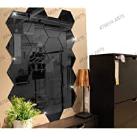 Wall1ders Atulya Arts - 3D Hexagon Acrylic Stickers (Pack of 20), Acrylic Mirror Wall Stickers for Home & Offices (Black)