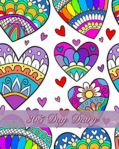 365 Day Diary: Journal Style Notebook  Ornate Rainbow Hearts (Kaleidoscope Hearts-taschenbuch)