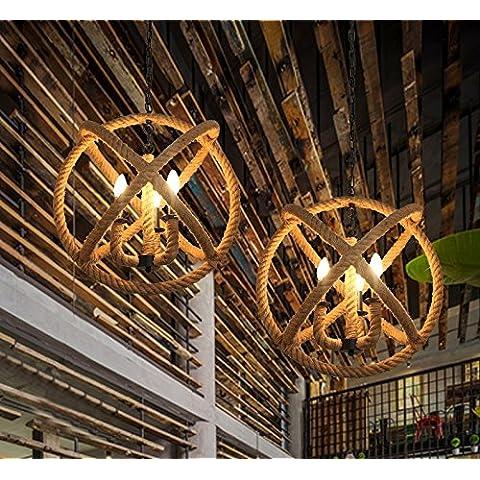 Lámparas de techo de la cuerda barra personalizada retro creativa minimalista tienda de ropa bar café araña ( Tamaño : Diámetro 430 (con bombillas de luz)